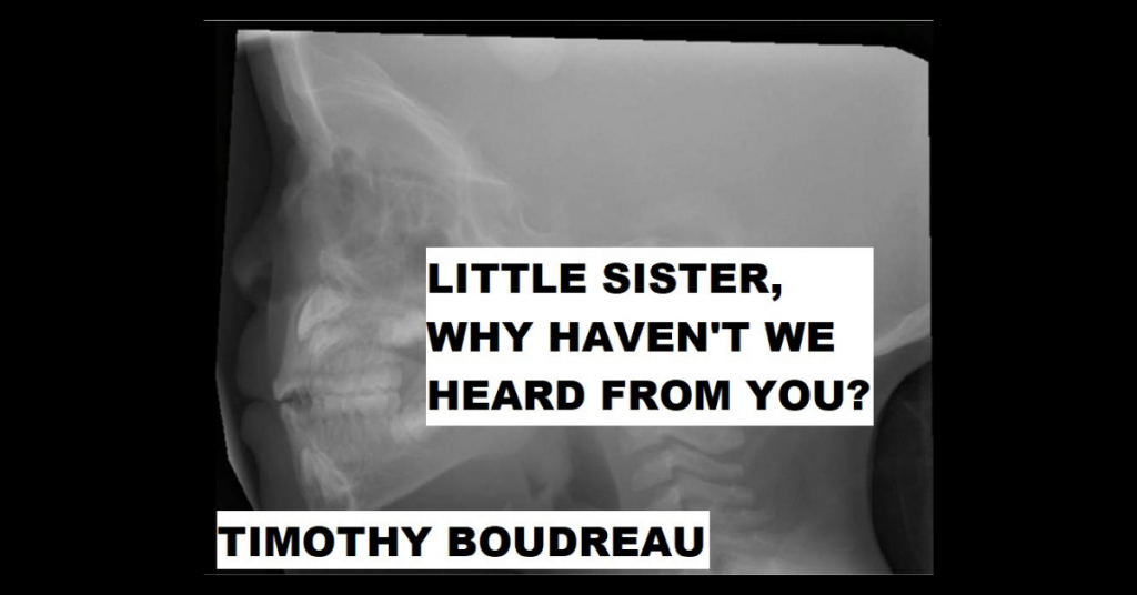 LITTLE SISTER, WHY HAVEN'T WE HEARD FROM YOU? by Timothy Boudreau