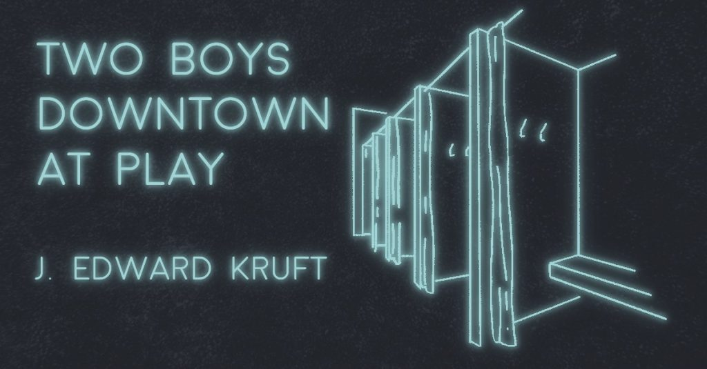 TWO BOYS DOWNTOWN AT PLAY by J. Edward Kruft